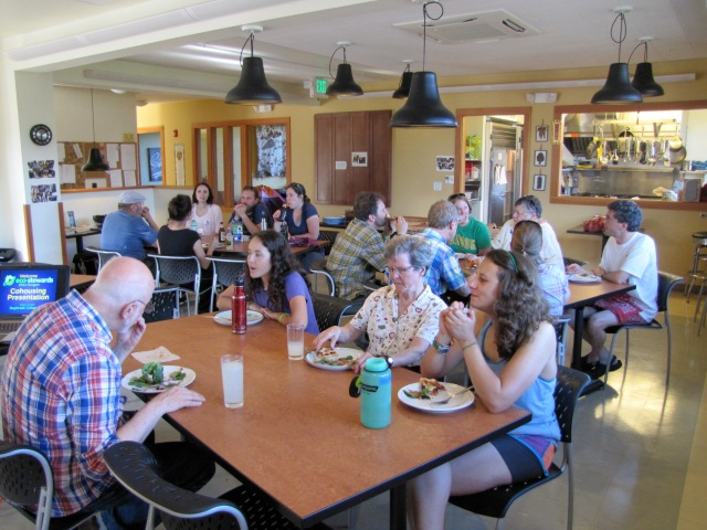 Eating dinner with the members of Daybreak Cohousing community.