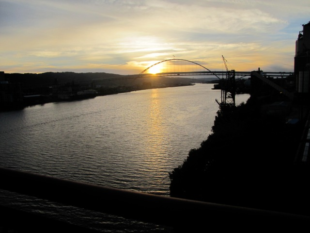 Sunset over the Willamette River.