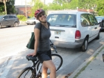 Eco-Steward Colleen Earp biking through Gainesville