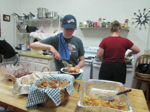 Eco-Stewards share a nutritional meal at The Catholic Worker House in Gainesville.